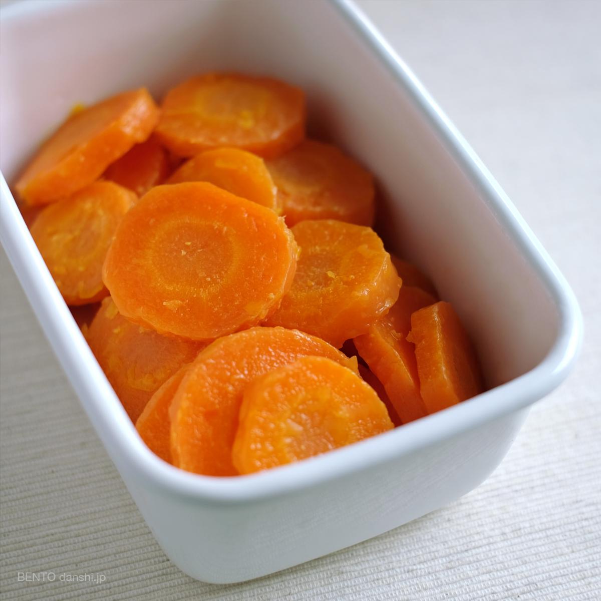人参の作り置き・常備菜。持ち5日の優秀常備菜『人参グラッセ』は弁当の付け合わせに最適。