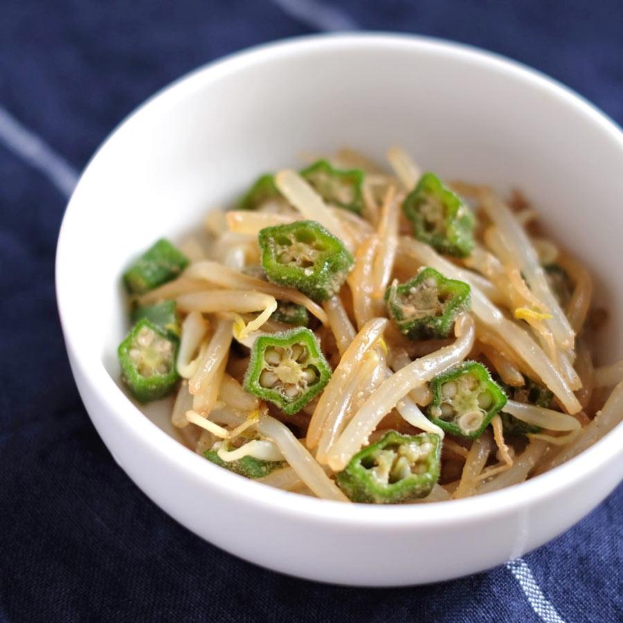 オクラともやしのあっさりナムル。弁当の作り置き・常備菜にぴったりの簡単節約ナムルレシピ。