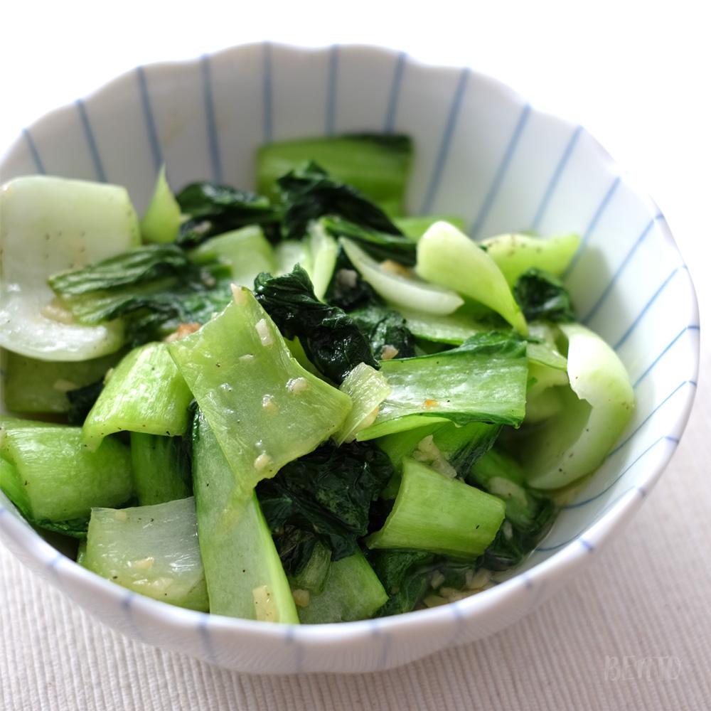 『青梗菜(チンゲンサイ)のガーリック炒め』。材料1品で出来る超簡単やさいレシピ。作り置き常備菜にも。