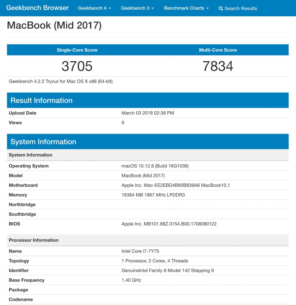 MacBook 12インチ 2017年 i7 16GBモデルの Geekbench ベンチマークスコア