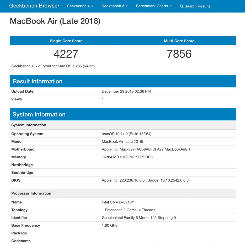 MacBook Air 2018 13インチ i5 16GBモデルの Geekbench ベンチマークスコア